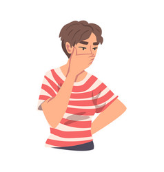 Pensive teenage girl covering her mouth with palm vector