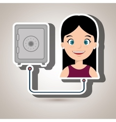 People with woman with safe box isolated icon vector