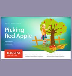 picking red apples flat horizontal banner vector image