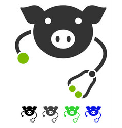 Pig veterinary flat icon vector