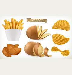 Potato wedges and fry chips vegetable 3d icon set vector