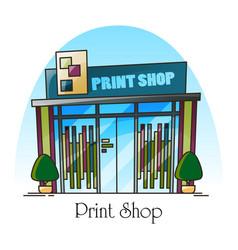 print shop building facade in thin line exterior vector image