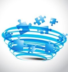 puzzle design in blue color vector image