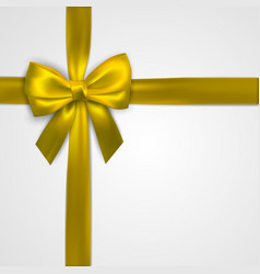 Realistic golden bow with gold yellow ribbons vector