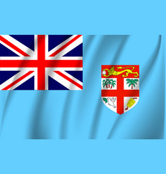 Realistic waving flag fiji waving flag of vector