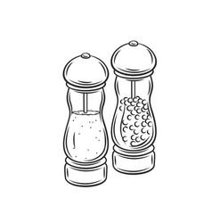 salt and pepper grinder spice shaker vector image