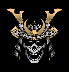 samurai skull warrior helmet on a dark background vector image