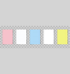 set a4 colorful paper notebook or book page vector image