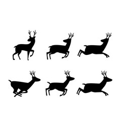 set deer icon in silhouette style vector image