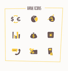 Set of banking icons in cartoon style vector