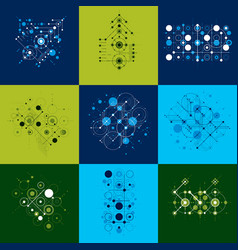 set of bauhaus abstract backgrounds made with vector image
