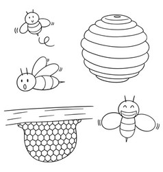 set of bee and honeycomb vector image