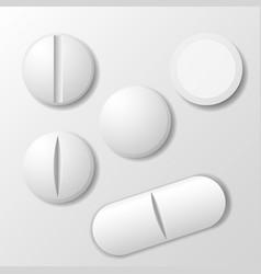 Set of medicine pill - tablet drug vector