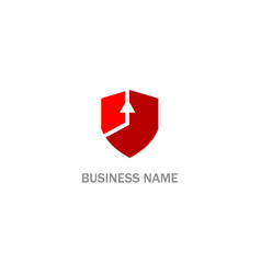 shield arrow up business logo vector image