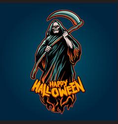 skull grim reaper halloween pumpkins vector image