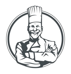 smiling cook in ring vector image