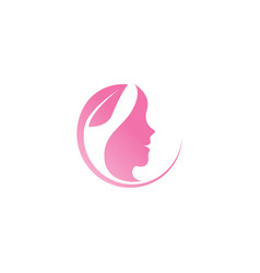 Spa aesthetic girl logo template vector