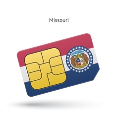 State of missouri phone sim card with flag vector