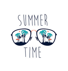 summer time slogan and sunglasses vector image