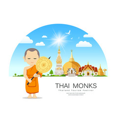 thai monks talipot fan in hand on thailand place vector image
