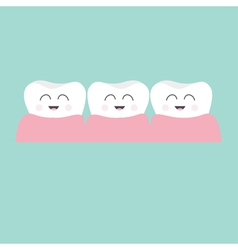 Tooth gum icon three cute funny cartoon smiling vector