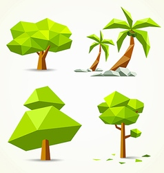 Trees geometric collections design vector image