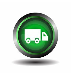 Truck icon on glossy green round button vector