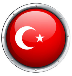 Turkey flag on round frame vector