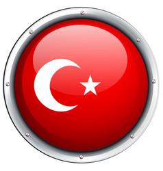 turkey flag on round frame vector image