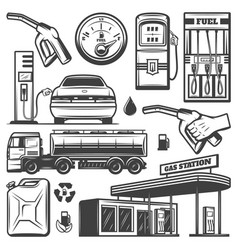 Vintage gas station icons collection vector