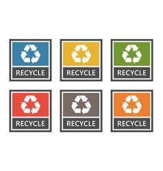 waste management labels set sorting vector image