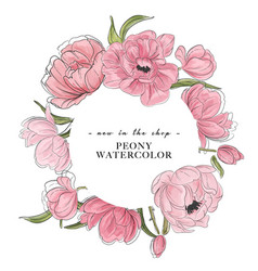 Watercolor flower peony hand-drawn elemetns vector