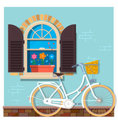 white bicycle near the building facade with a vector image