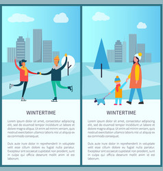 wintertime poster happy couple dancing on skates vector image