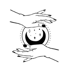 Womens hands holding moon and stars trendy linear vector