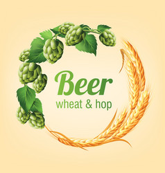 wreath with hops and wheat floral composition vector image
