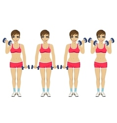 Young woman doing dumbbell exercises vector image