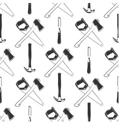 carpentry seamless pattern with hammer ax saw vector image vector image