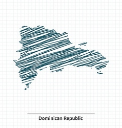 Doodle sketch of Dominican Republic map vector image vector image