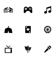 entertainment 9 icons set vector image