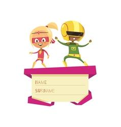 Kids dressed as superheroes dancing on lid of gift vector