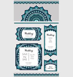 set of card or wedding invitation marine oriental vector image vector image