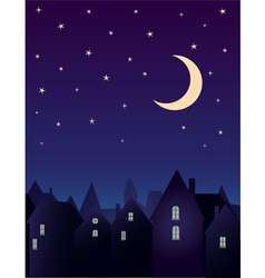 Silhouette of the city and night sky vector image