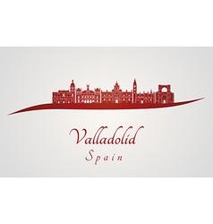Valladolid skyline in red vector image vector image