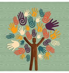 Diversity human tree hands vector image vector image