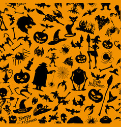 halloween orange background vector image vector image