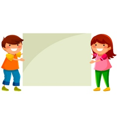 kids with placard vector image vector image