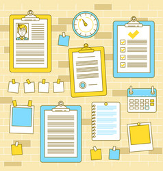 workflow organization with bulletin wall and vector image