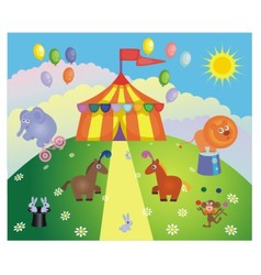 circus tent and animals vector image vector image