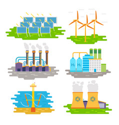 energy producing stations infographic elements vector image